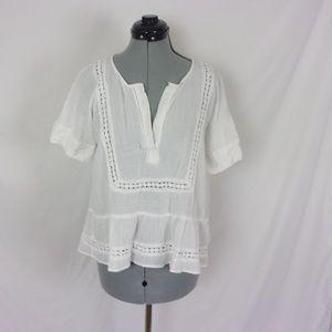 Ann Taylor LOFT Blouse Crochet Accents White